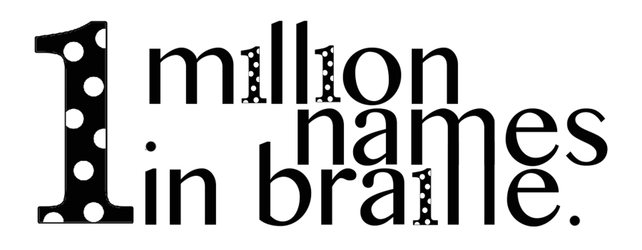 1 million names in braille logo