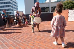 girl approaches drummer